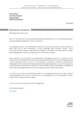 muster - Anschreiben Fr Initiativbewerbung