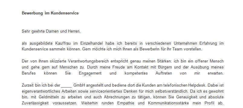 Bewerbungsschreiben im Kundenservice - MeineBewerbung.net