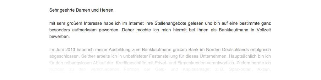 anscheiben als bankkaufmann - Bewerbung Bankkaufmann