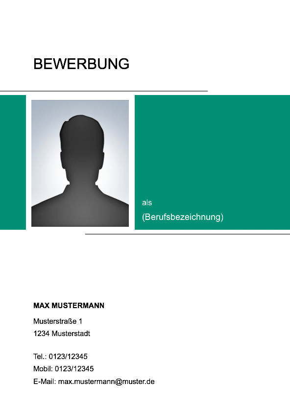 muster muster deckblatt - Bewerbung Deckblatt Ohne Foto