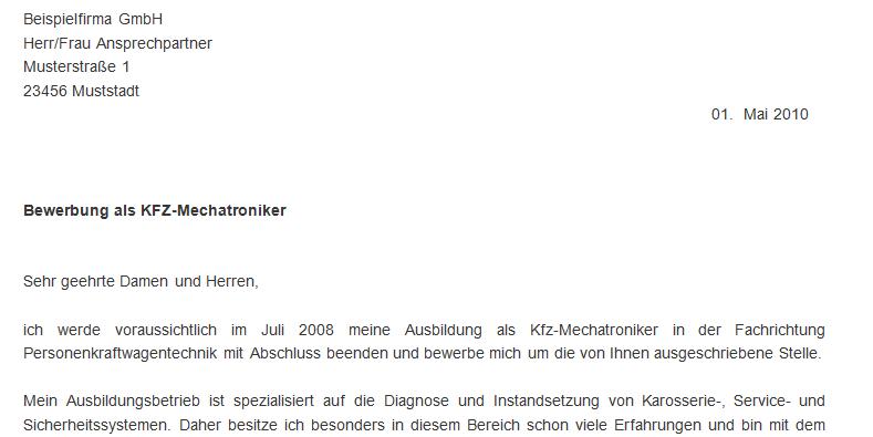 Bewerbungsschreiben als KFZ Mechatroniker   MeineBewerbung.net