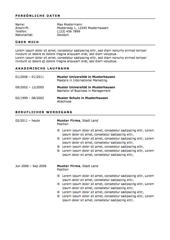 Bewerbung - Lebenslauf Vorlage und Muster