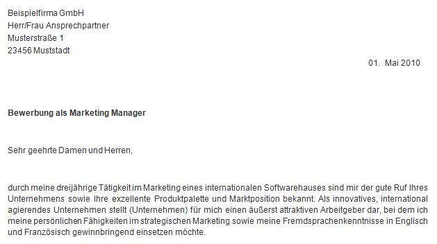 einleitungssatz bewerbungsschreibenorg bewerbungsschreiben als marketing manager in meinebewerbungnet - Einleitungsstze Bewerbung