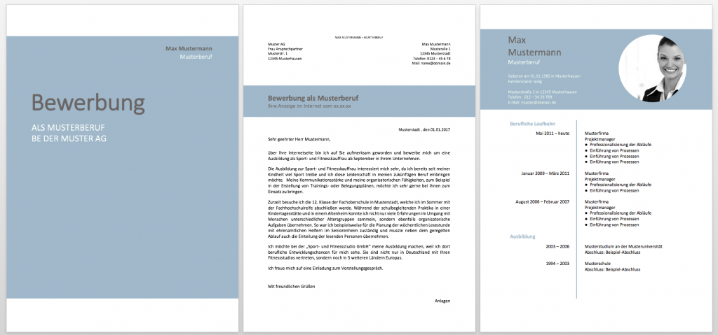 Muster für Lebenslauf und Bewerbung im Komplettpaket