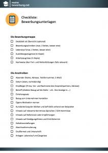 Checkliste   Bewerbungsunterlagen   MeineBewerbung.net