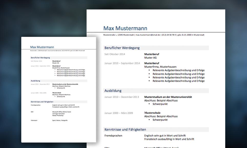 mutser und vorlagen - Lebenslauf Vorlage 2013