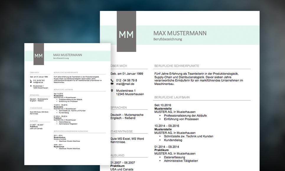 Muster und Vorlagen für die Gestaltung eines Lebenslaufs.