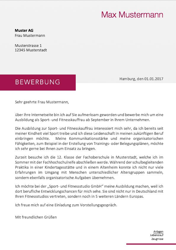 Bewerbung 2018 - Anschreiben Muster - MeineBewerbung.net